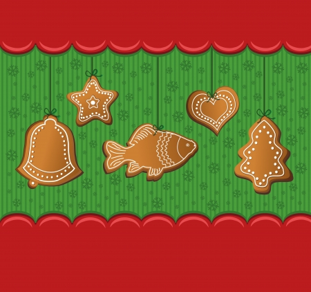 raster christmas gingerbread red card photo