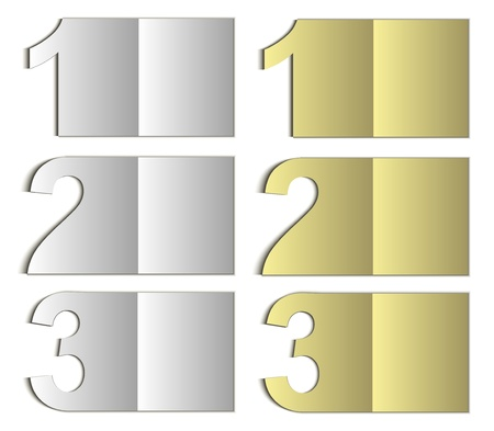offer icon: raster paper card nomer 123 gold silver Stock Photo