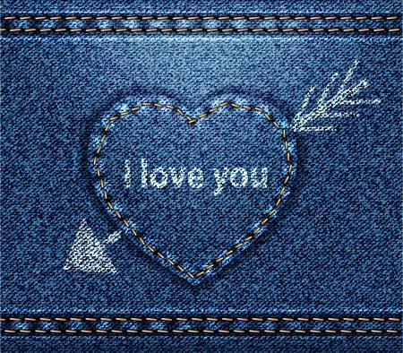 Jeans heart blue denim texture Vector