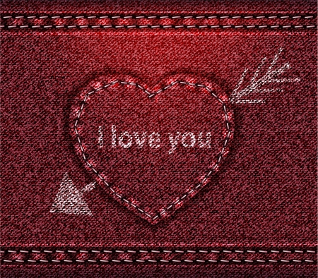 Jeans heart red denim texture Vector