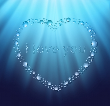 heart water blue drop