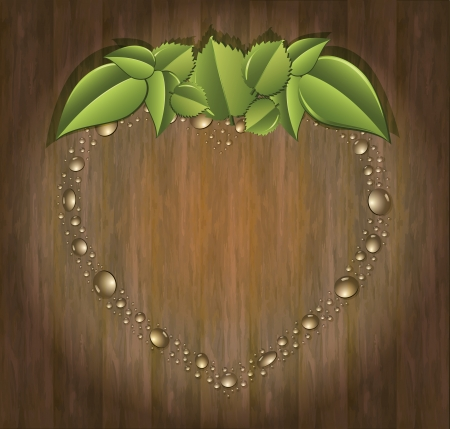 raster Bio garden strawberry heart organic wood background photo