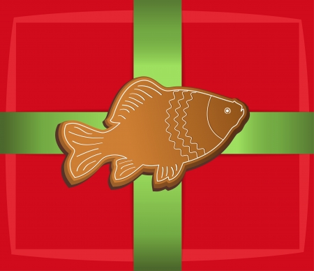 christmas gift label card fish carp Vector