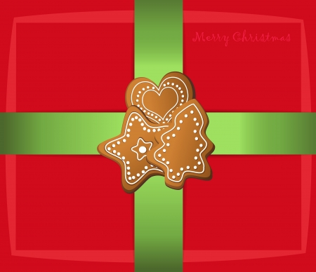 christmas gift label card gingerbread Vector