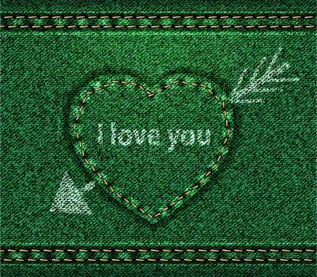Jeans heart arrow green Vector