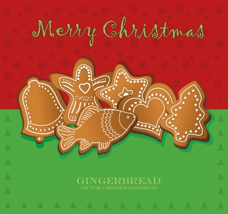 vector christmas gingerbread card red green Vector