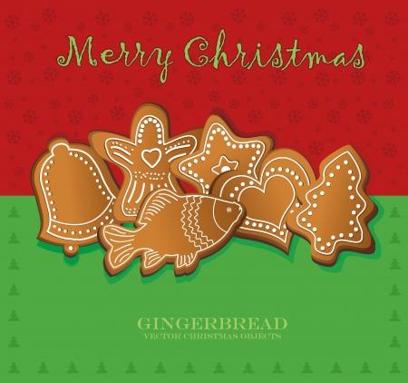 vector christmas gingerbread card red green Vector