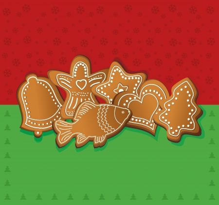 raster christmas gingerbread card red green photo
