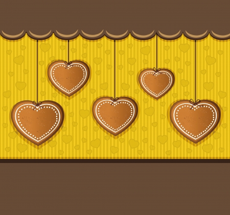 gingerbread: heart gingerbread yelow card congratulations  Illustration