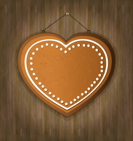 blackboard gingerbread heart wood Vector