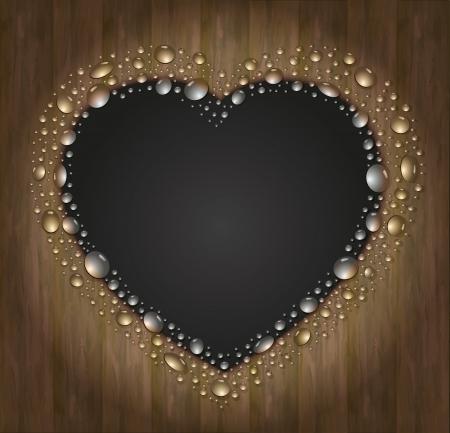 blackboard heart drop water background wood black Vector