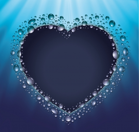 blackboard heart drop water blue Stock Vector - 14771624