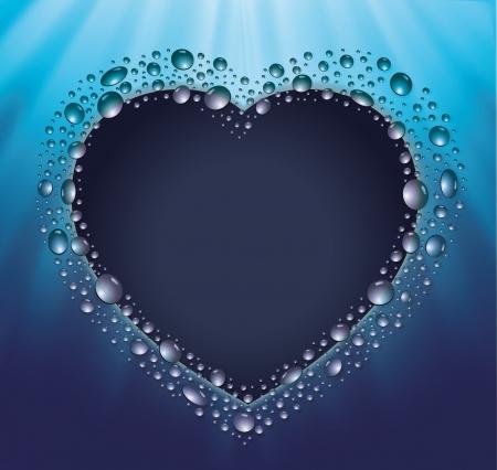 blackboard heart drop water blue