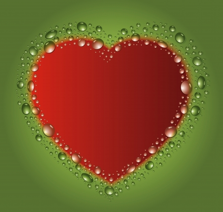 blackboard heart drop water red green  Vector