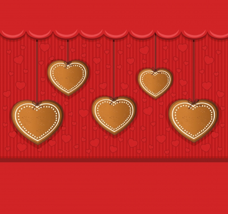 heart gingerbread red card congratulations  Vector