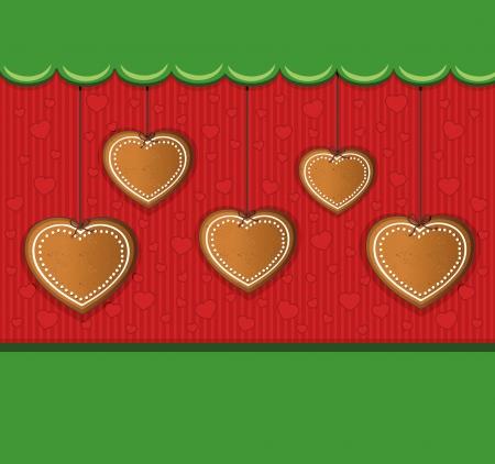 gingerbread heart: heart gingerbread green card congratulations Illustration