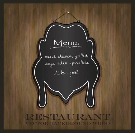 blackboard chicken restaurant menu card Vector