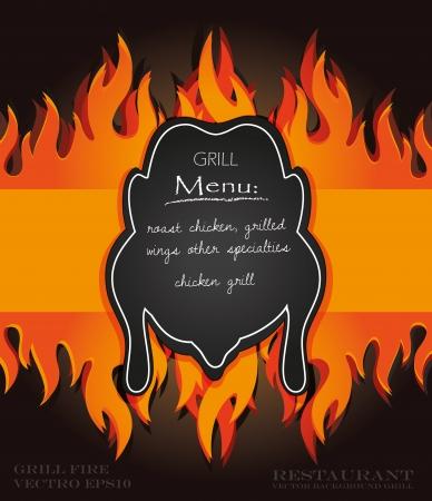 vector blackboard grill menu card chicken fire board Stock Vector - 15354748