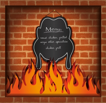 speciality: vector blackboard chicken fireplace grill