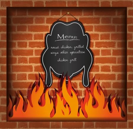 vector blackboard chicken fireplace grill