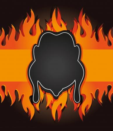 raster blackboard grill menu card chicken fire board Foto de archivo