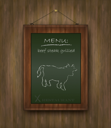 blackboard wood menu beef cow green Vector