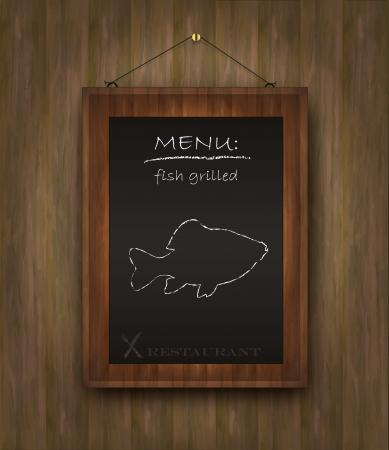 blackboard wood menu fish Stock Vector - 15458153