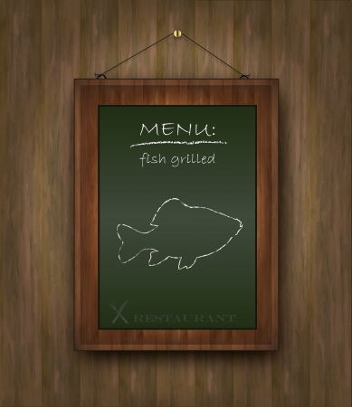 blackboard wood menu fish green Vector