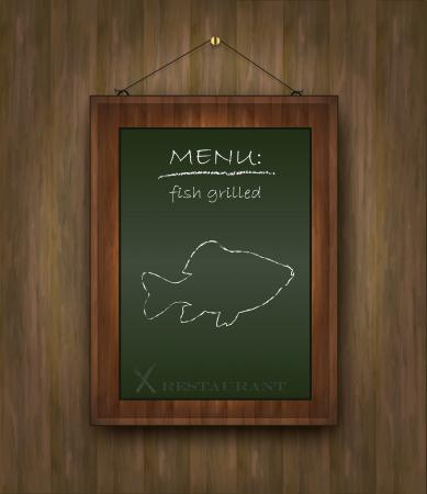 kitchen poster: blackboard wood menu fish green