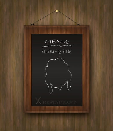 blackboard wood menu chicken Vector