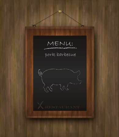 blackboard wood menu pig Vector