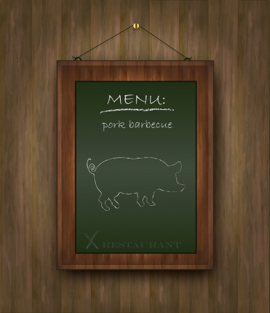 pig roast: blackboard wood menu pig green Illustration