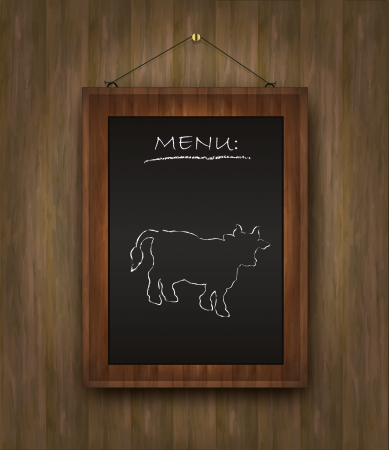 raster blackboard cow bull wood menu restaurant black photo