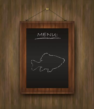 specials: raster blackboard wood fish menu restaurant black Stock Photo