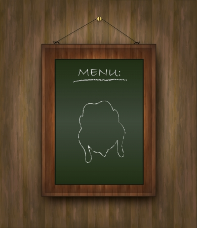 raster blackboard wood menu chicken green Stock Photo - 15621989