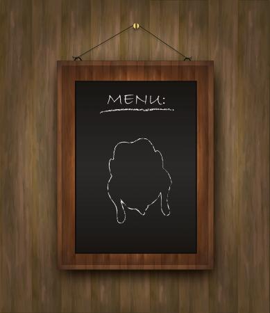 raster blackboard wood menu chicken restaurant black Stock Photo - 15621988