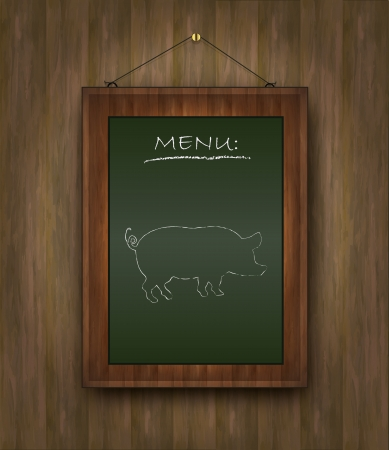 pig roast: raster blackboard wood menu pig green Stock Photo