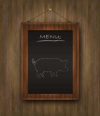 raster blackboard wood menu pig restaurant black photo