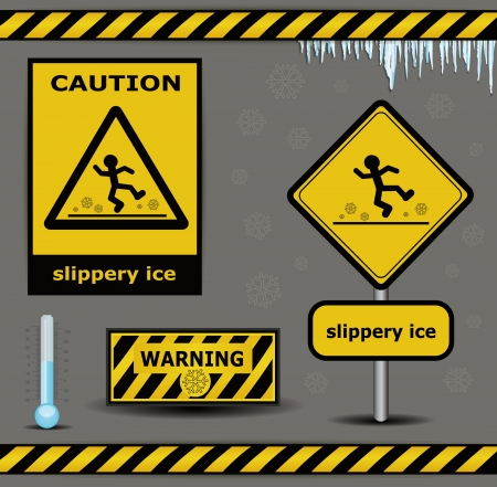 slippery warning sign: sign caution slippery ice warning collection