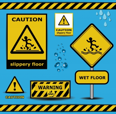slippery floor: vector sign caution slippery floor wet flor warning collection
