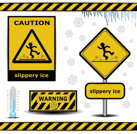 slippery: raster sign caution slippery ice warning collection