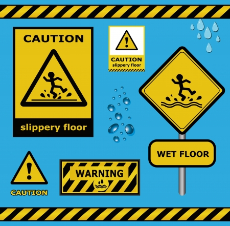 slippery warning sign: raster sign caution slippery floor wet flor warning collection