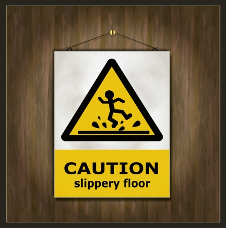 slippery: blackboard sign caution slippery floor wood Illustration