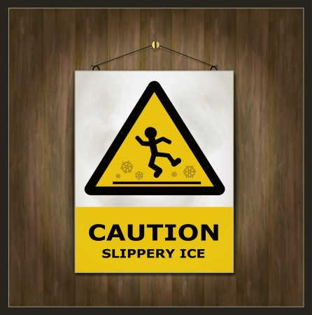 blackboard sign caution slippery ice wood Stock Vector - 15884889