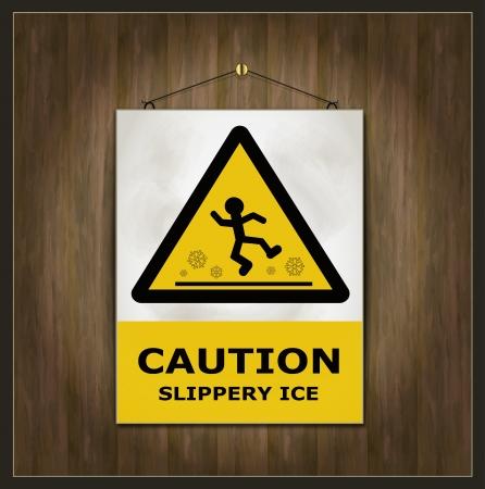 wet floor caution sign: signo pizarra precauci�n madera hielo resbaladizo