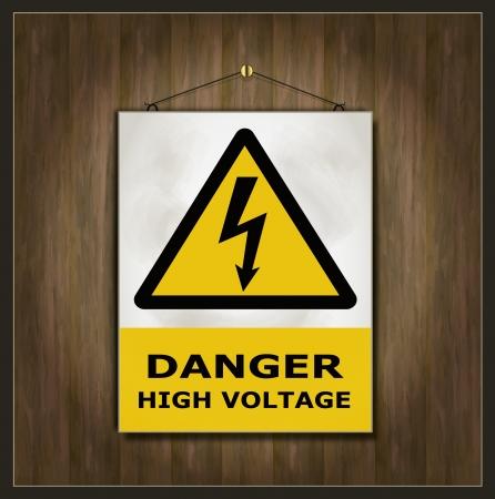 blackboard sign danger high voltage wood Stock Vector - 15884891