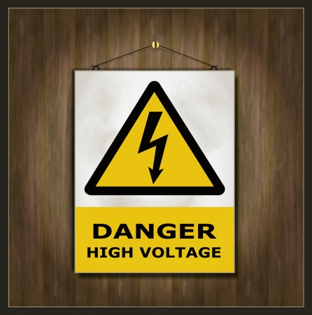 wet floor caution sign: signo de peligro pizarra de madera de alta tensi�n