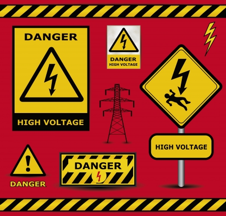 high voltage sign: sign danger  high voltage warning collection