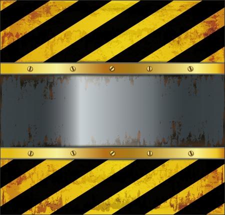 blackboard caution board metal rusty Stock Illustratie