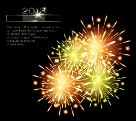 fireworks color green orange 2013  Vector
